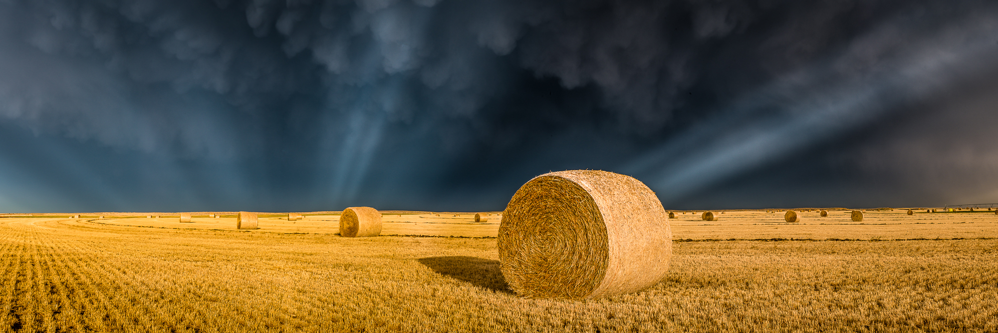 Crepuscular rays shine underneath strong mammatus cloud formations over a hay field on the Kansas prairie.