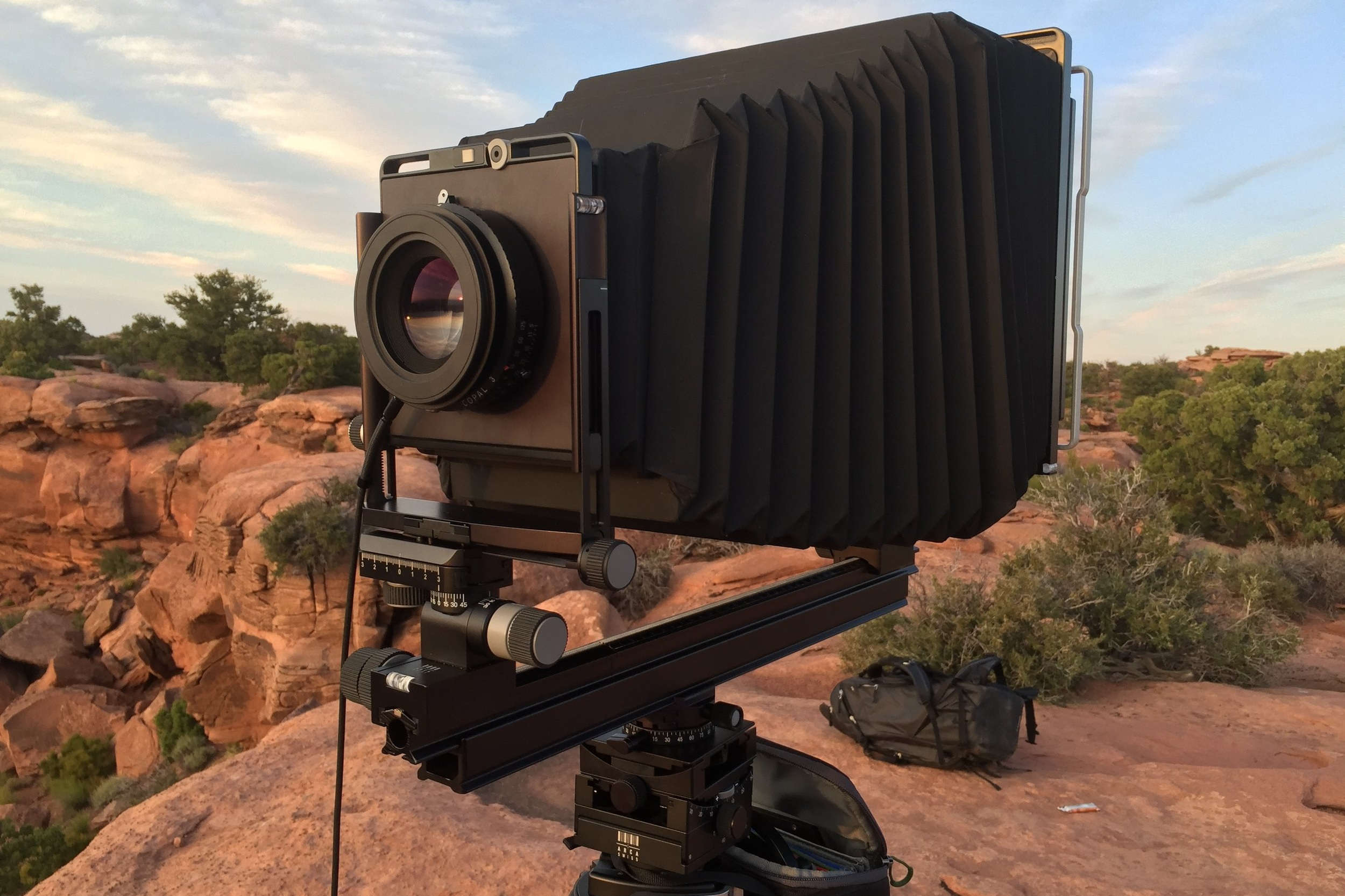 My large format, Arca Swiss 8x10, set up in the field.
