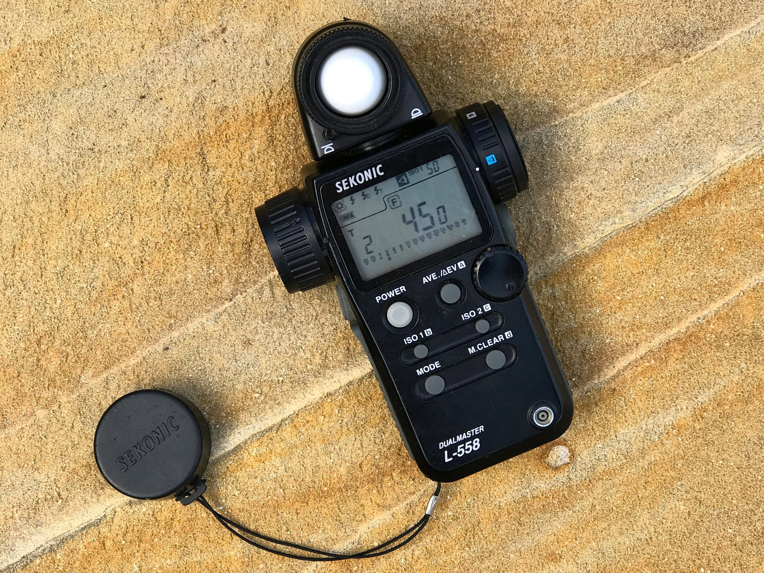 Now my backup meter, the Sekonic L-558 offers the photographer both a 1 degree spot and incident meter.