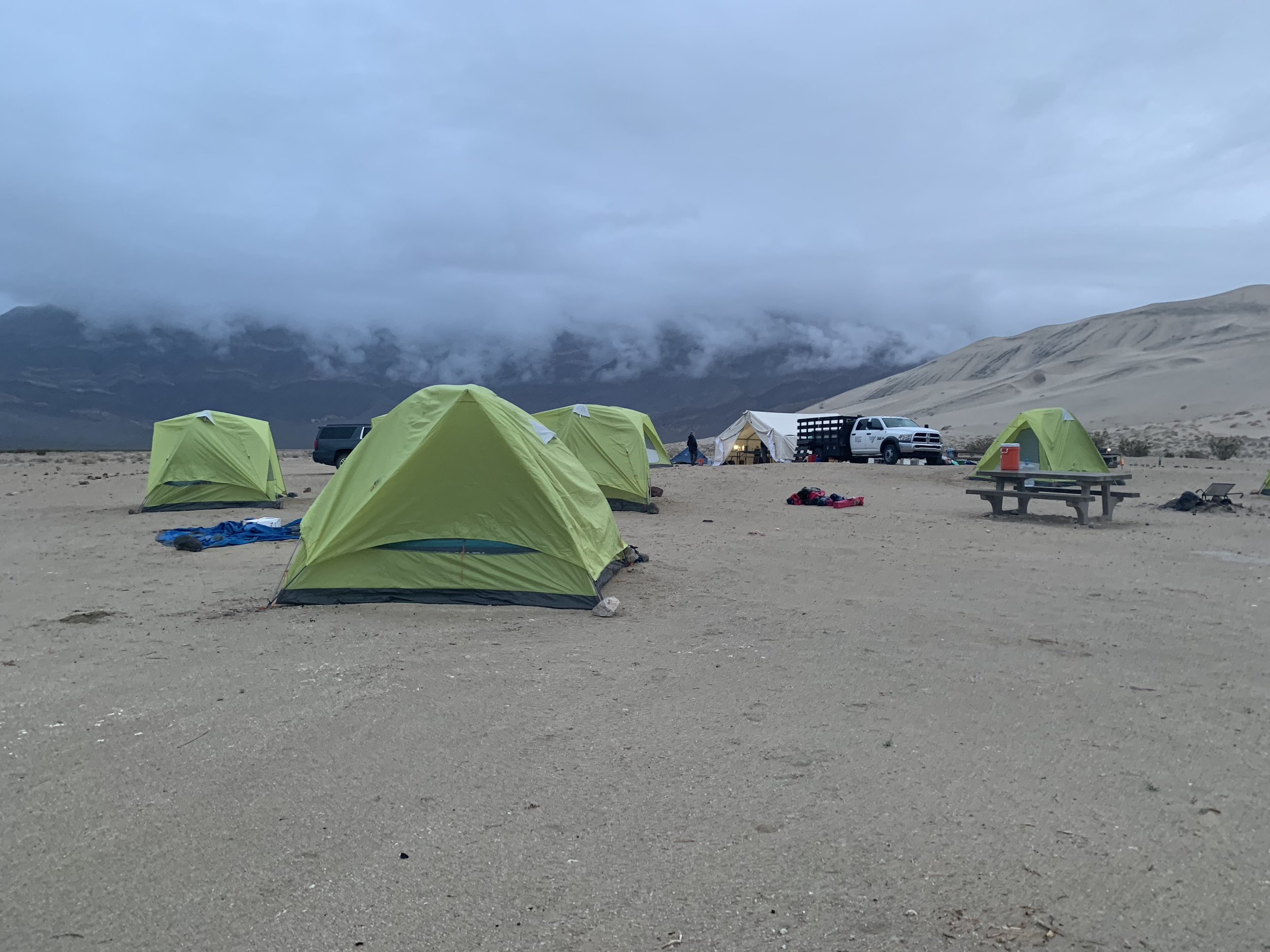 Base camp at Eureka Dunes