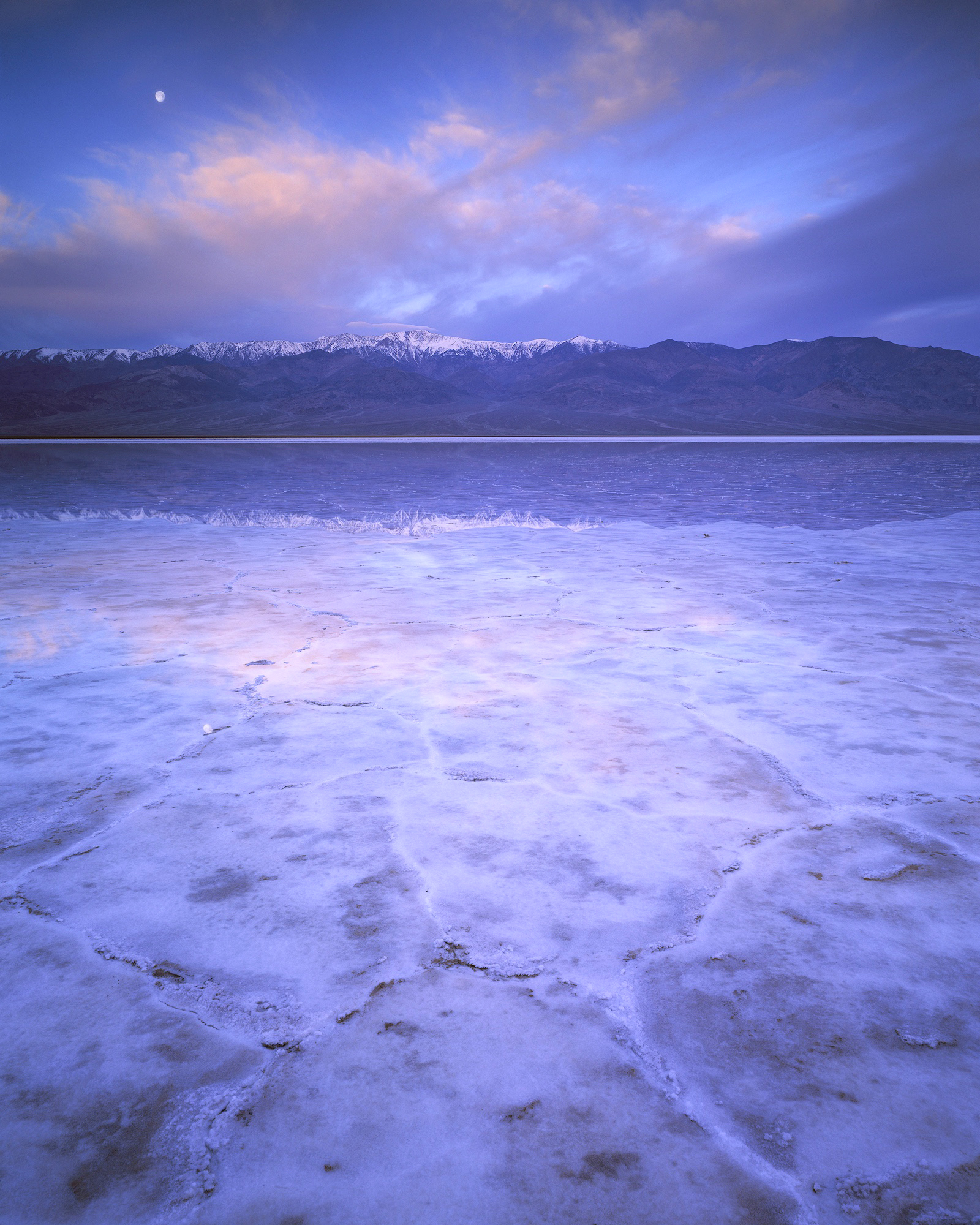 "Badwater Basin and Moonrise, Chamonix 4x5, Rodenstock 90mm f/6.8, 8"" exposure @ f/32 on Fuji Velvia 50 - March, 2019"