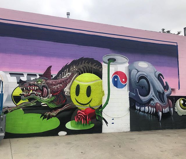 Sneak peak of the @nychos and @low_bros collab at the new studio for our grand opening next weekend.  May 18  8pm #StudioMOMÉ #laart #postgraffiti #lamurals #theweirdcrew #catapultworld