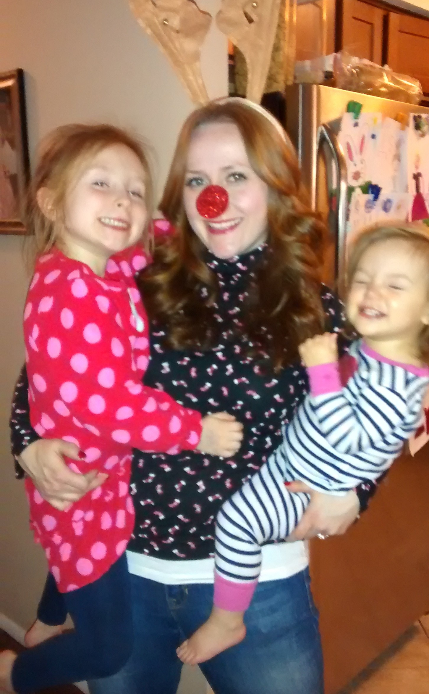 Me and girls with Rudolph nose