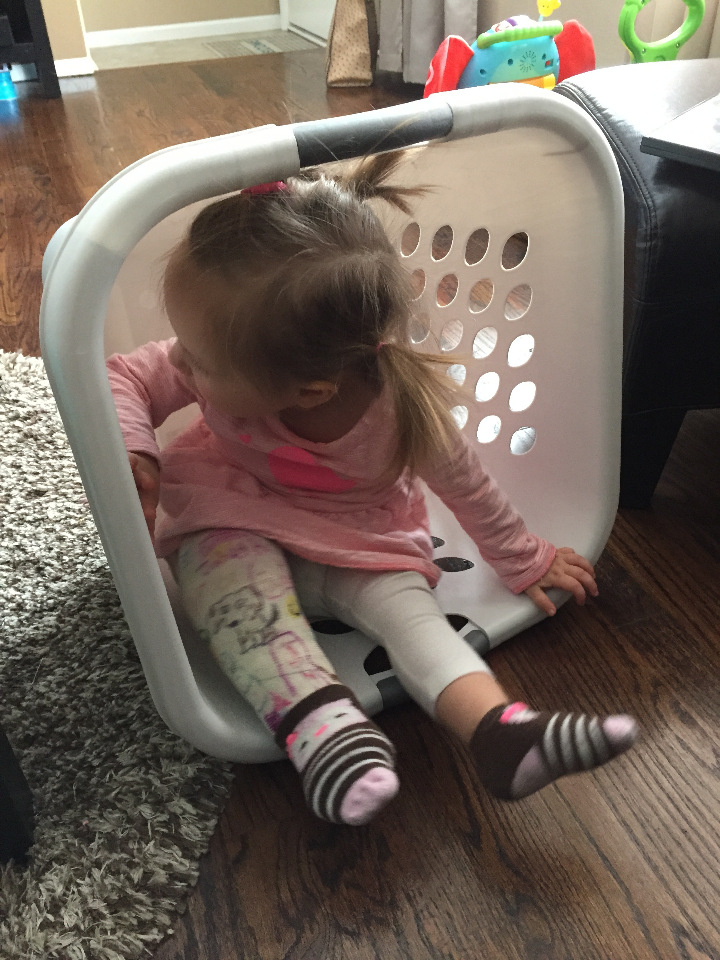 Toddler in laundry basket