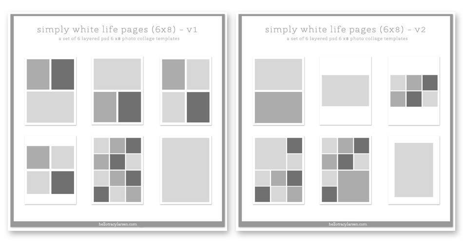 simply white life pages 6x8 photo book page template layouts and collages for scrapbooking, project life and digital project life  >>>  hellotracylarsen.com