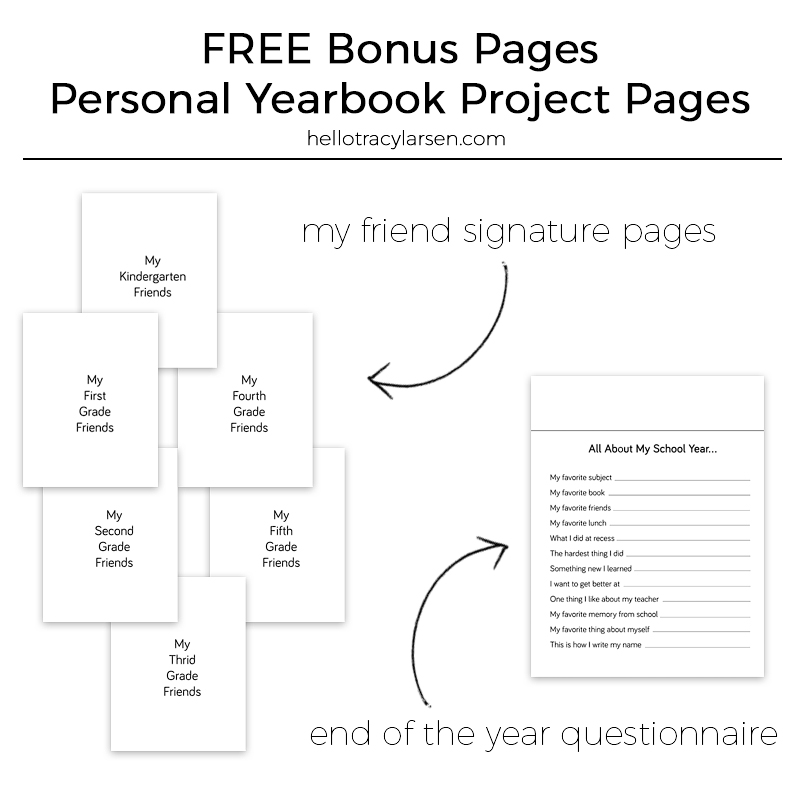 Personal Yearbook Project for preschool + elementary school students - FREE Printable page download => hellotracylarsen.com