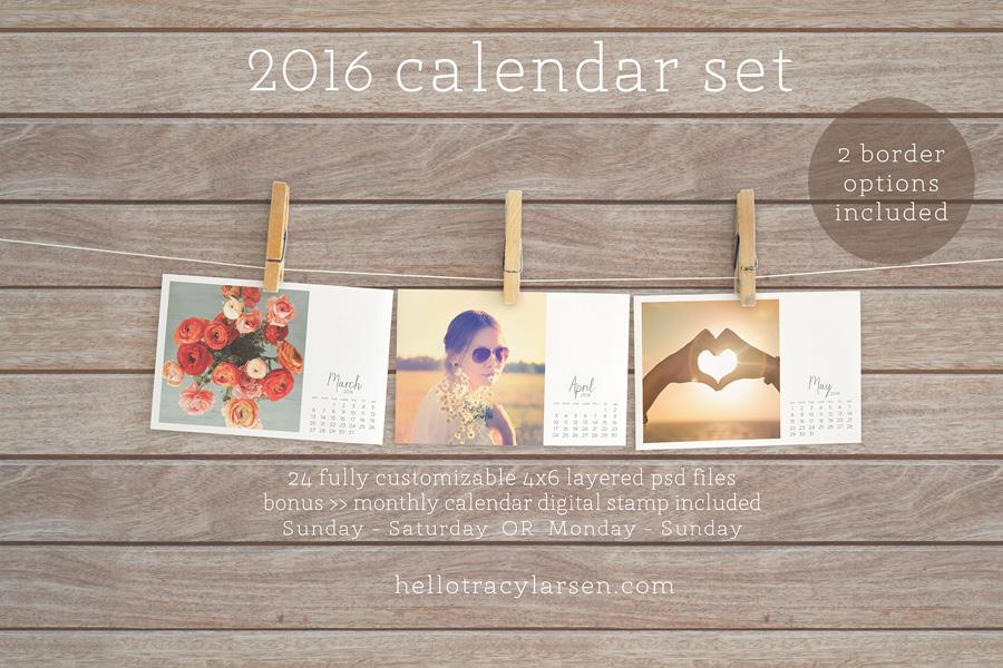 2016 Calendar Set = photo collage templates to make custom calendars + monthly calendar digital stamp  >> also use for digital project life® + digital scrapbooking ==>> hellotracylarsen.com/shop