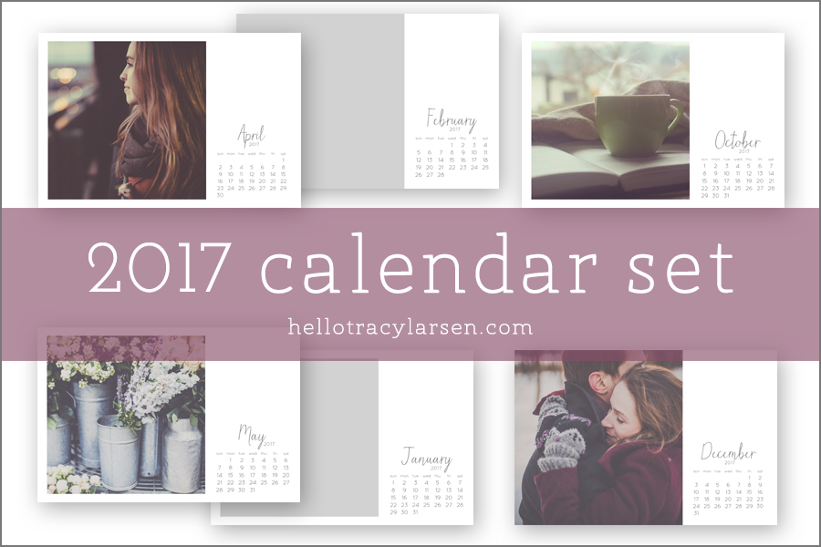 2017 Calendar Set = photo collage templates to make custom calendars + monthly calendars PLUS 2017 monthly digital stamp/brushes >> also use for digital project life® + digital scrapbooking ==>> hellotracylarsen.com/shop