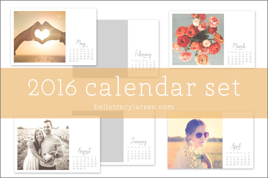 2016 Calendar Set = photo collage templates to make custom calendars + monthly calendar digital stamp  >> also use for digital project life® + digital scrapbooking ==>> hellotracylarsen.com/shop