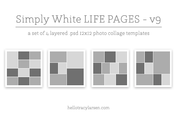 simply white life pages v9 - digital project life + digital scrapbooking 12x12 page templates ==>> hellotracylarsen.com/shop