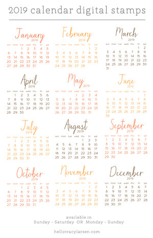 2019 Sunday Calendar 2019 Calendar Set (Sunday to Saturday) — Tracy Larsen Digital Designs