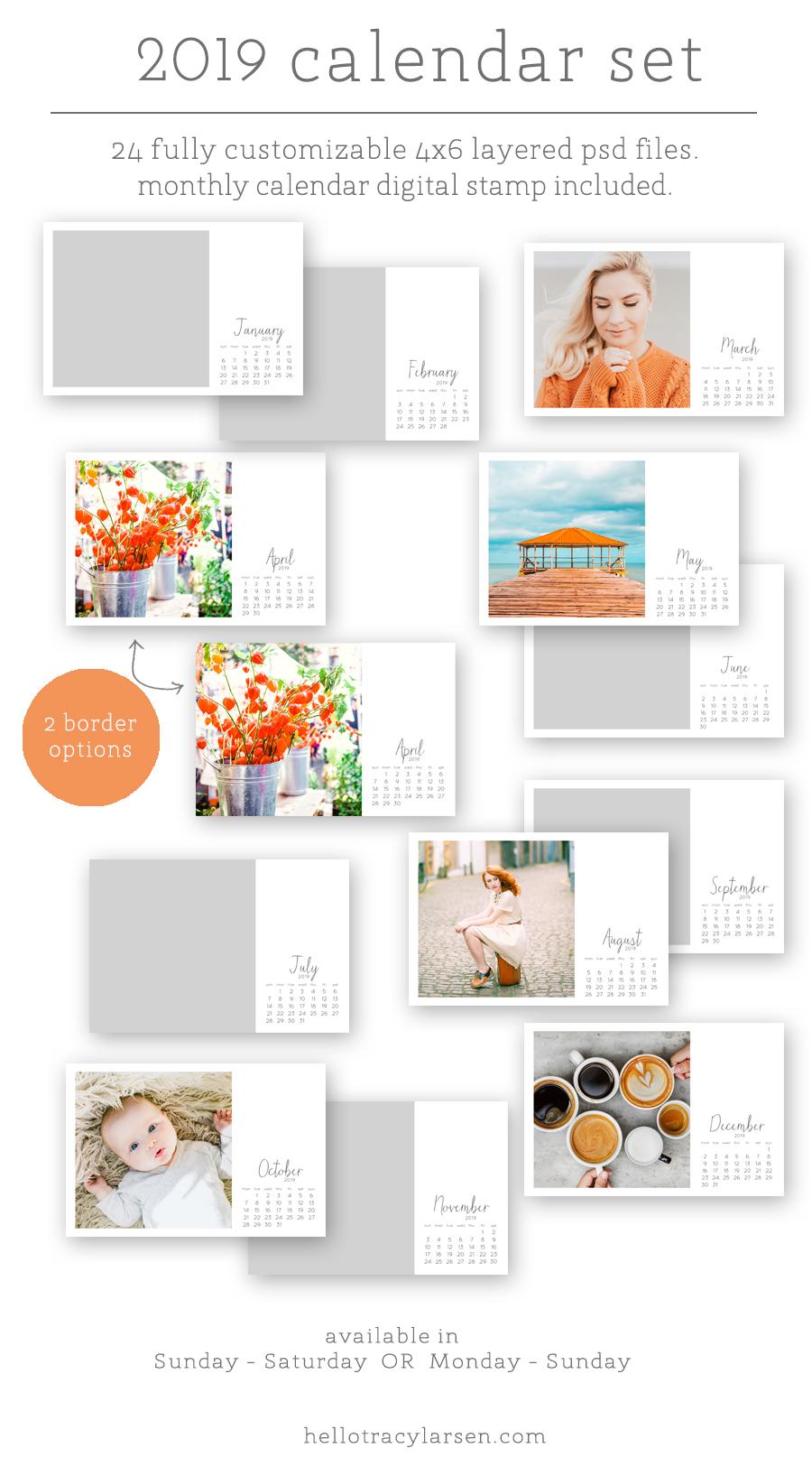 2019 digital calendar photo template 4x6   digital brush + stamp    Project Life    Digital Project Life   Modern Scrapbooking    Pocket Page Scrapbooking >>> HelloTracyLarsen.com