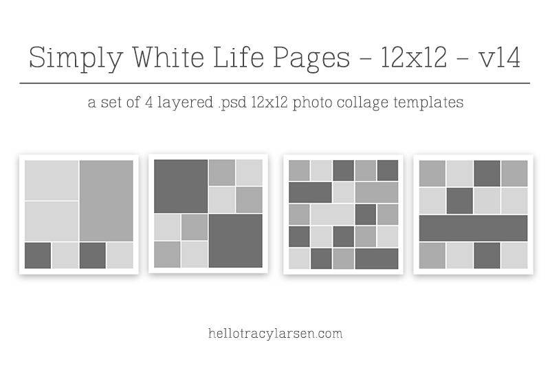 simply white life pages v10 12x12 digital photo collage page templates