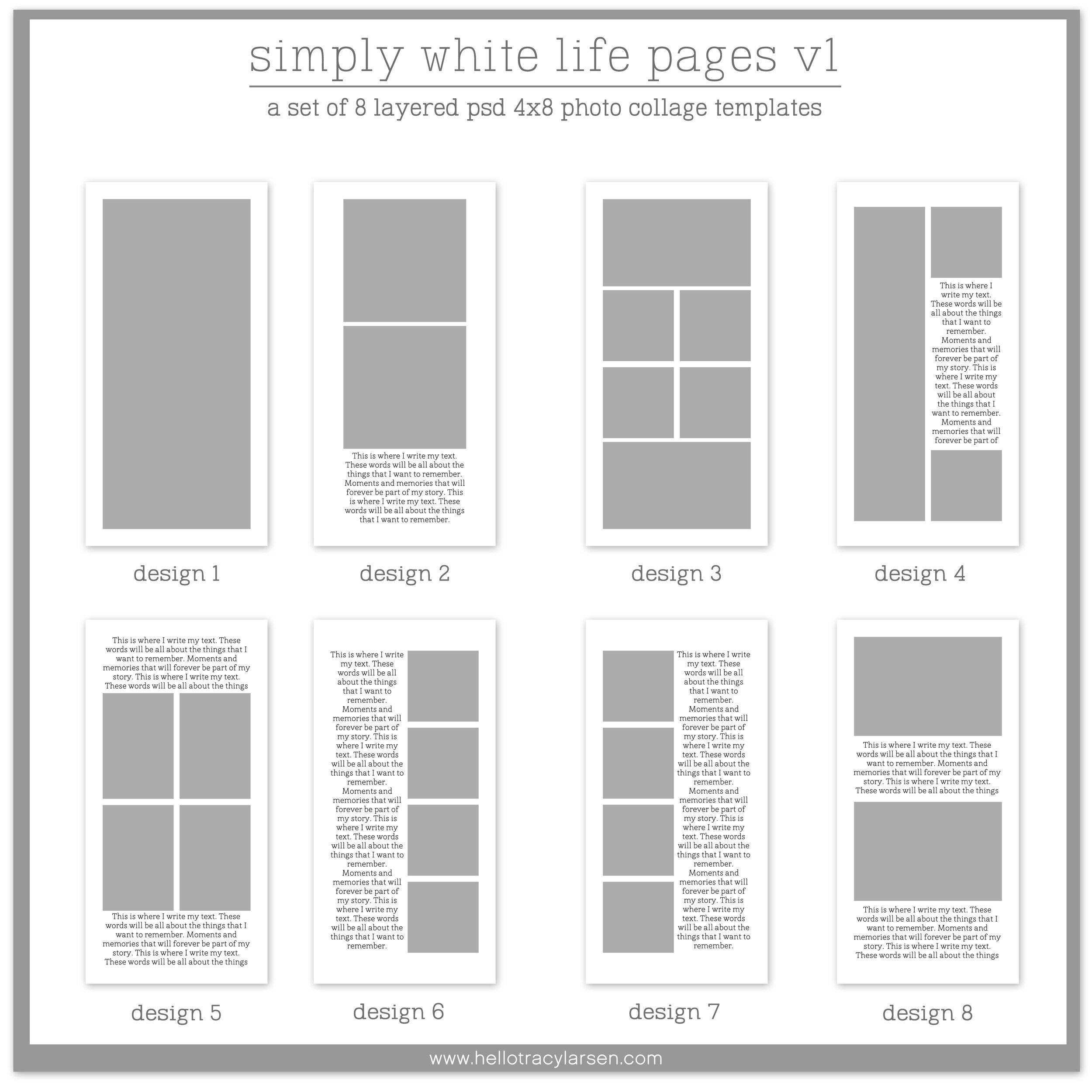 Travelers Notebook + Journal Templates v1      Simply White Life Pages 4x8 ==>> Digital photo collage page templates for print or digital projects including project life, pocket scrapbooking and digital memory keeping >>> hellotracylarsen.com/shop