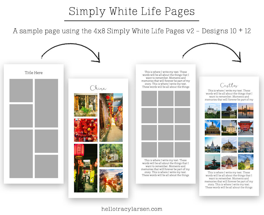 Travelers Notebook + Journal Templates v2      Simply White Life Pages 4x8 ==>> Digital photo collage page templates for print or digital projects including project life, pocket scrapbooking and digital memory keeping >>> hellotracylarsen.com/shop