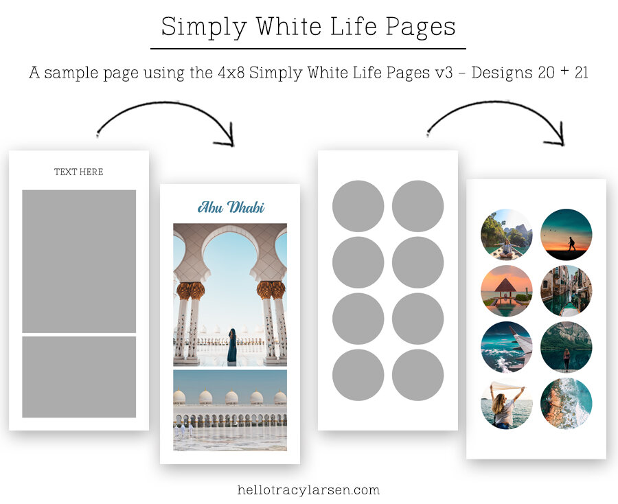 Travelers Notebook + Journal Templates v3      Simply White Life Pages 4x8 ==>> Digital photo collage page templates for print or digital projects including project life, pocket scrapbooking and digital memory keeping >>> hellotracylarsen.com/shop