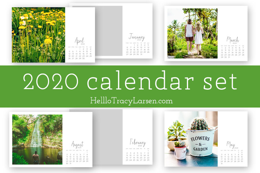 2020 digital calendar photo template 4x6 | digital brush + stamp  | Project Life  | Digital Project Life | Modern Scrapbooking  | Pocket Page Scrapbooking >>> HelloTracyLarsen.com
