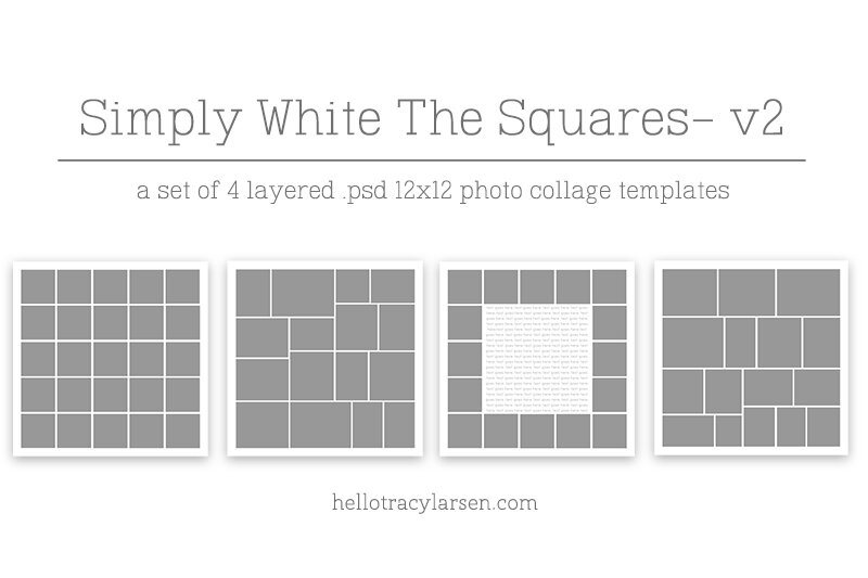 the simply white collection v2 digital photo collage template set squared
