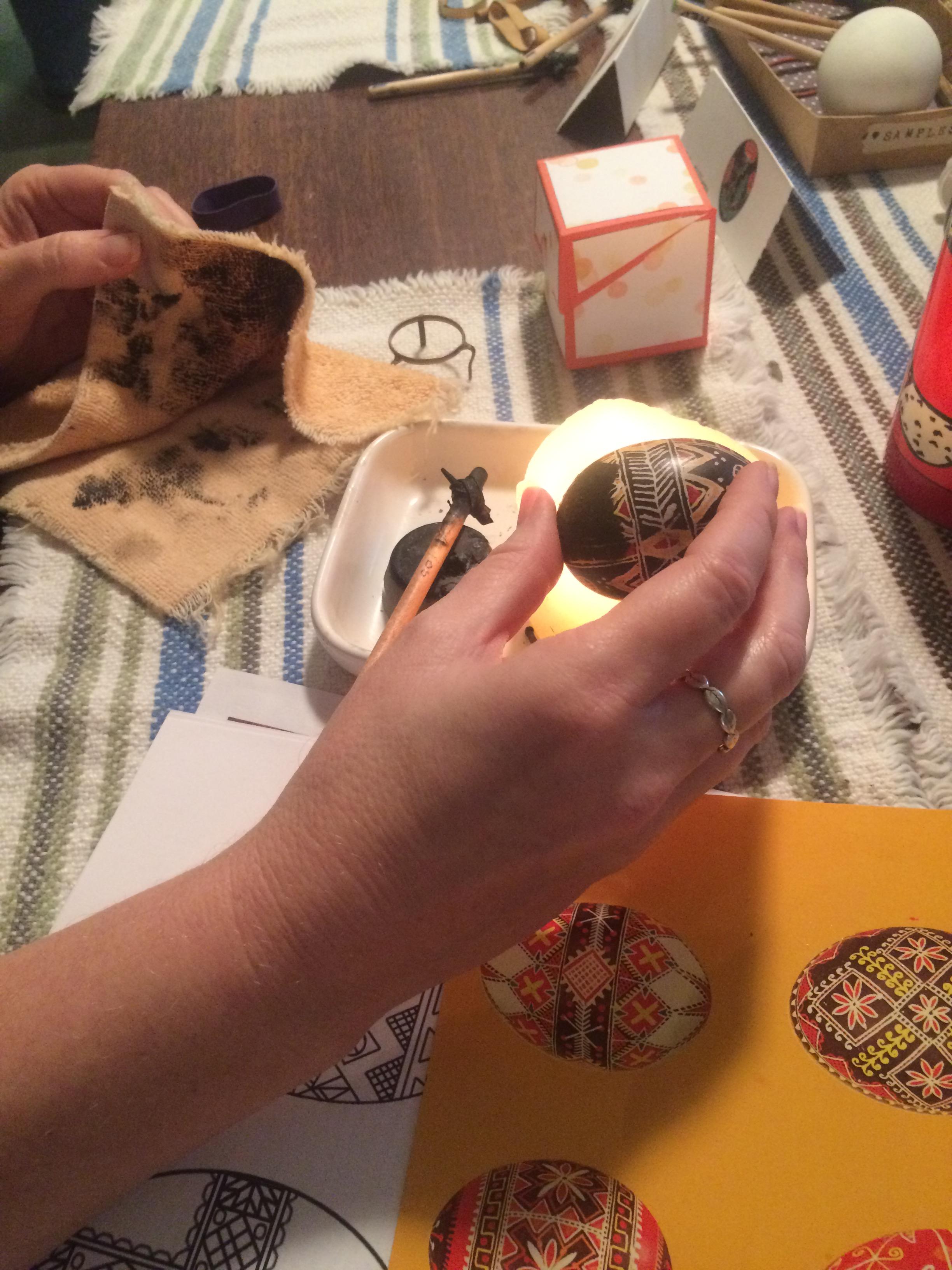 A Pysanky egg in progress