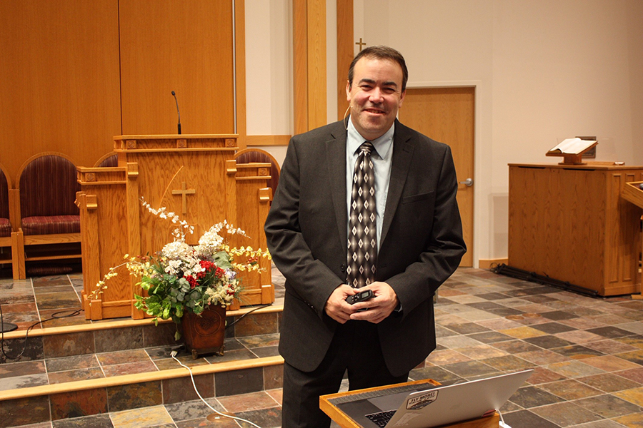 Bob Kroupa presents a creation seminar at the West County Church. (Photo submitted by Mary Schwantes).