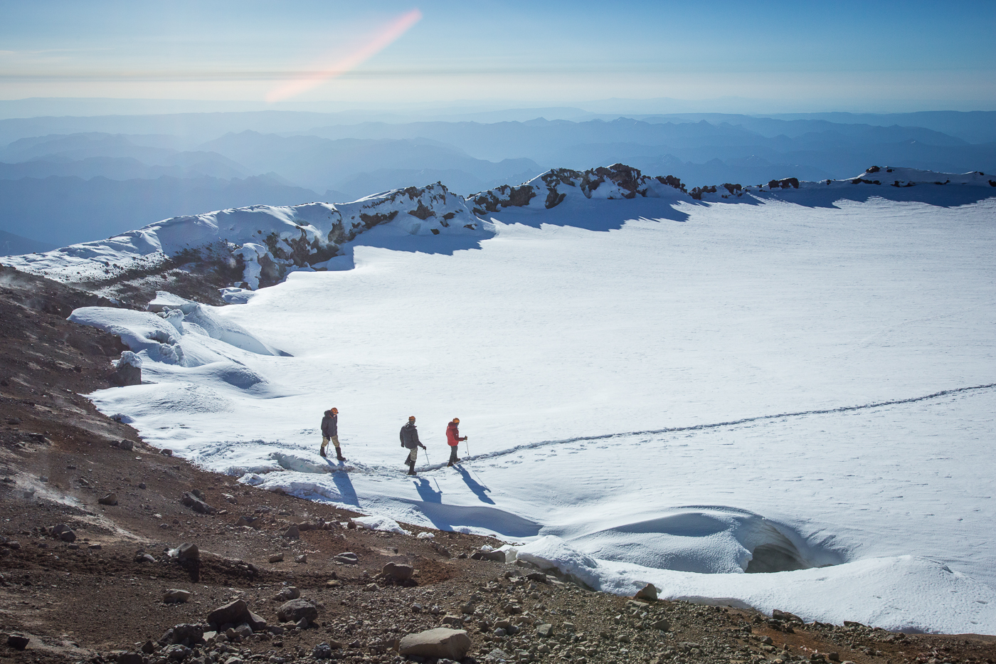 Hiking Across the Summit Cone