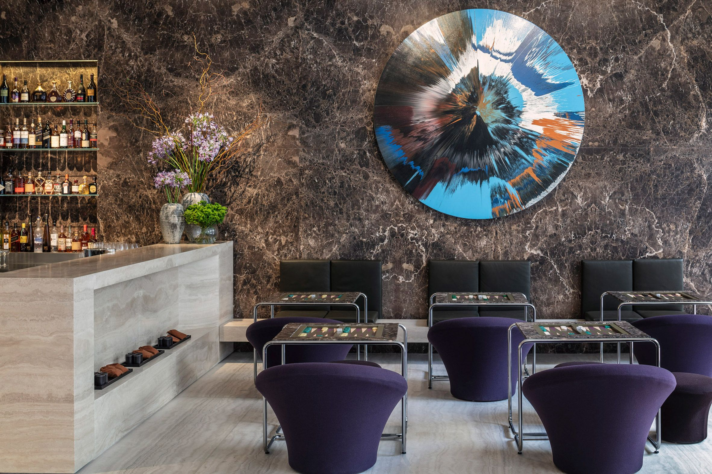 The Jaffa lobby bar featuring a magnificent Damian Hurst Spin painting