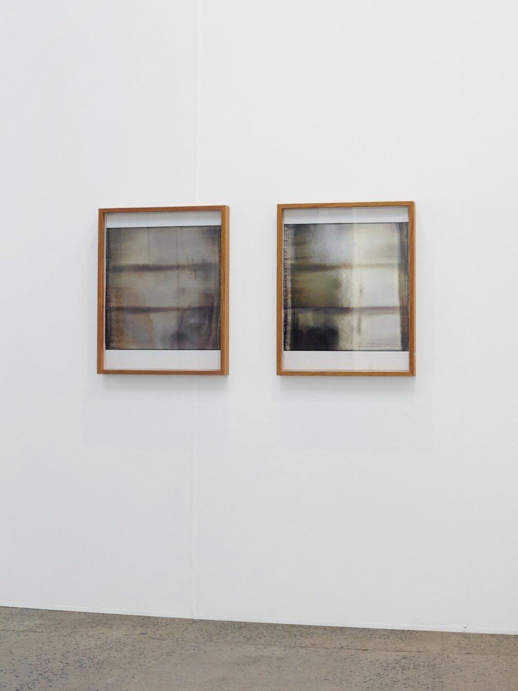 Coen Young,  Study of a Mirror 1 and 2,  marble dust and silver nitrate on paper   2019