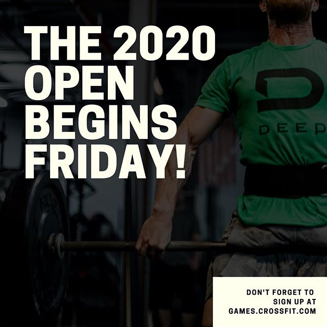 We are only a couple days away from the beginning of the 2020 CrossFit Open! We are excited to see you all come out on Friday to test your fitness and have some fun with the rest of the Deep family.  A quick reminder of what to expect.  Thursday Night - Event overview and heat signups sent out.  Friday Morning - Video analysis of the workout with tips and tricks to perform your best.  Friday @ 4:30pm - Friday Night Lights begins! We will run heats until 7:30pm.  Friday @ 7:30pm - Afterparty @ Dott's Hop House!