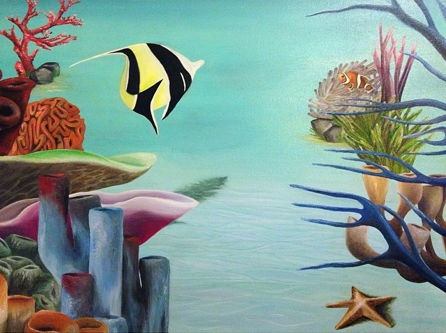 """Under the Sea"" 30x40 Oil on Canvas."