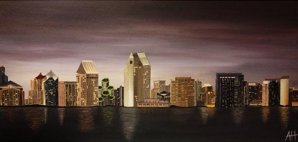 """San Diego Skyline"" 18x36 Oil on Canvas."