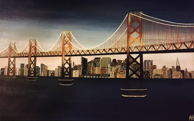 """Bay Bridge"" 24x36 Oil on Canvas."