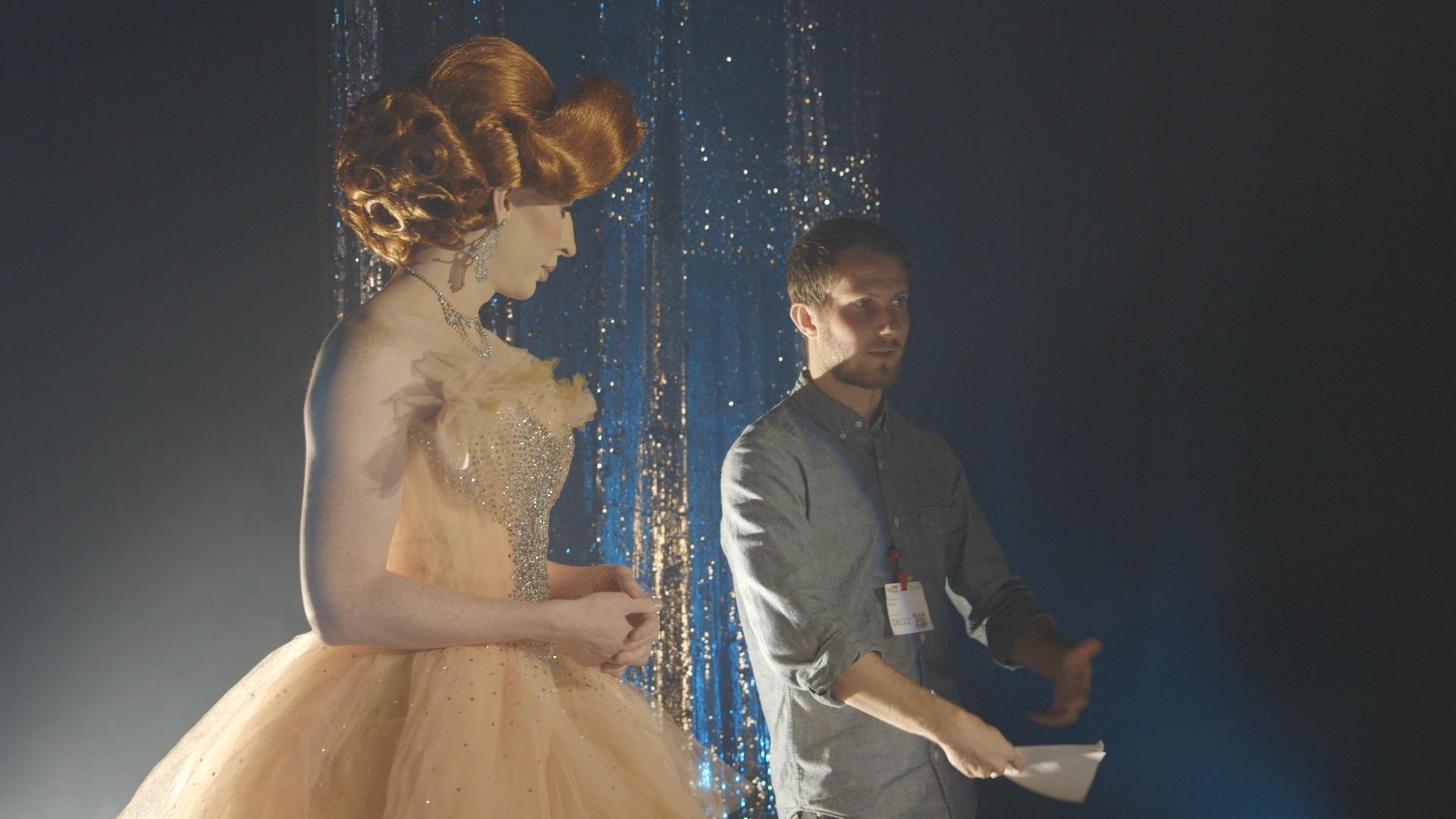 "Daniel directing ""Drag Queen Fashion"" for Vanity Fair."