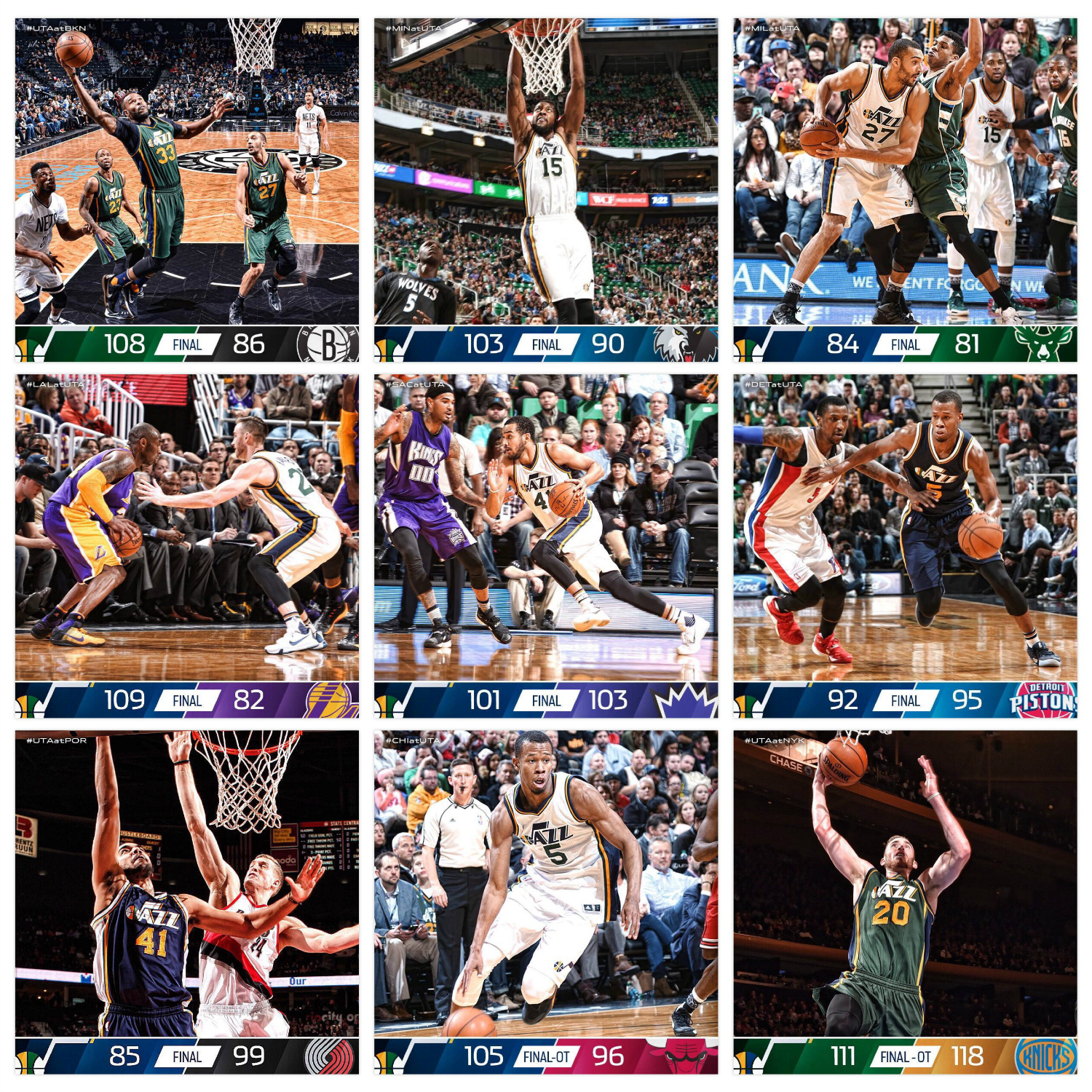 Layout features Template Design P and the images are from the Utah Jazz official Facebook page.