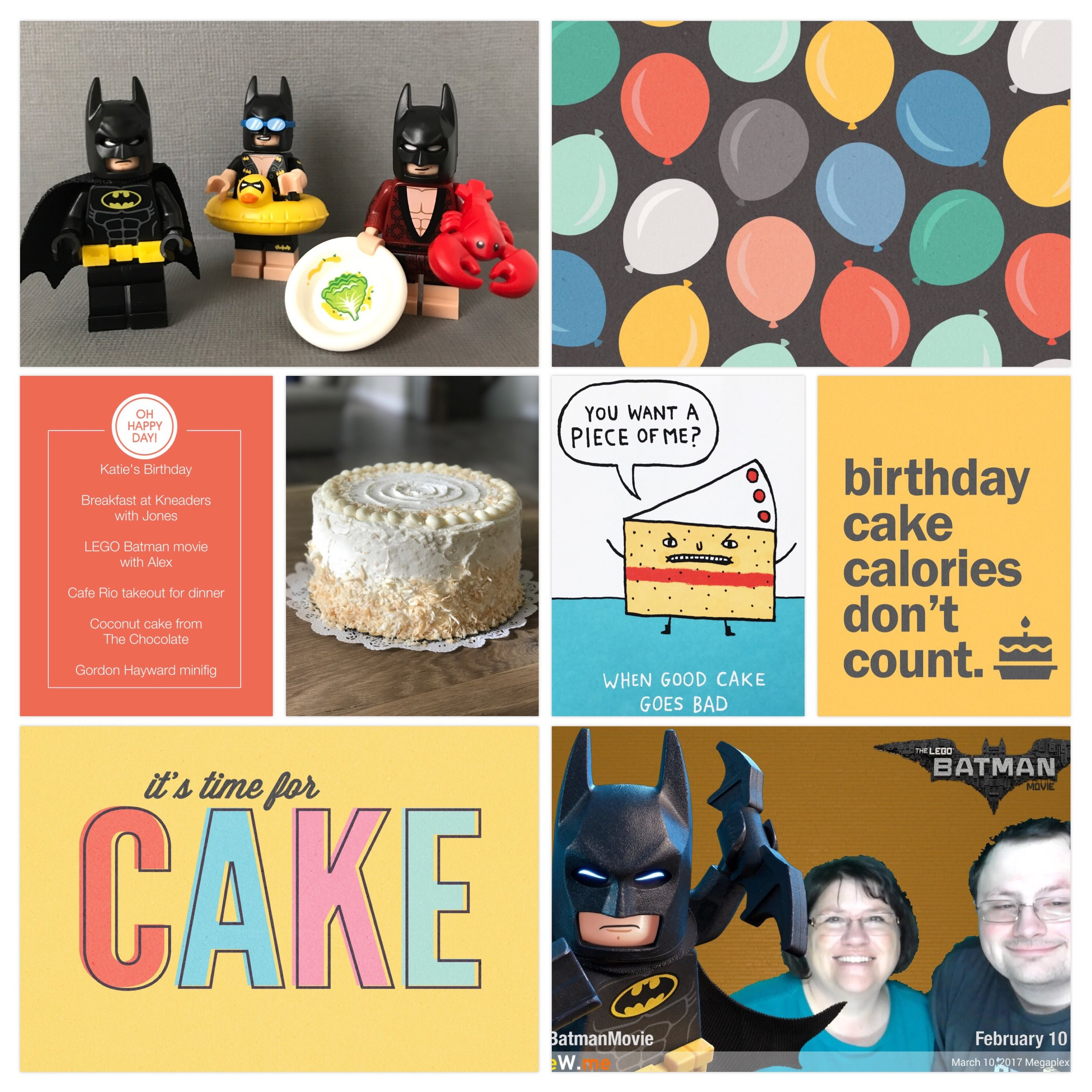 My birthday in March of 2017.Page created in Project Life App. Cards from Peppermint Creative. I also took a picture of the funny birthday card my brother sent me and used it on the page.