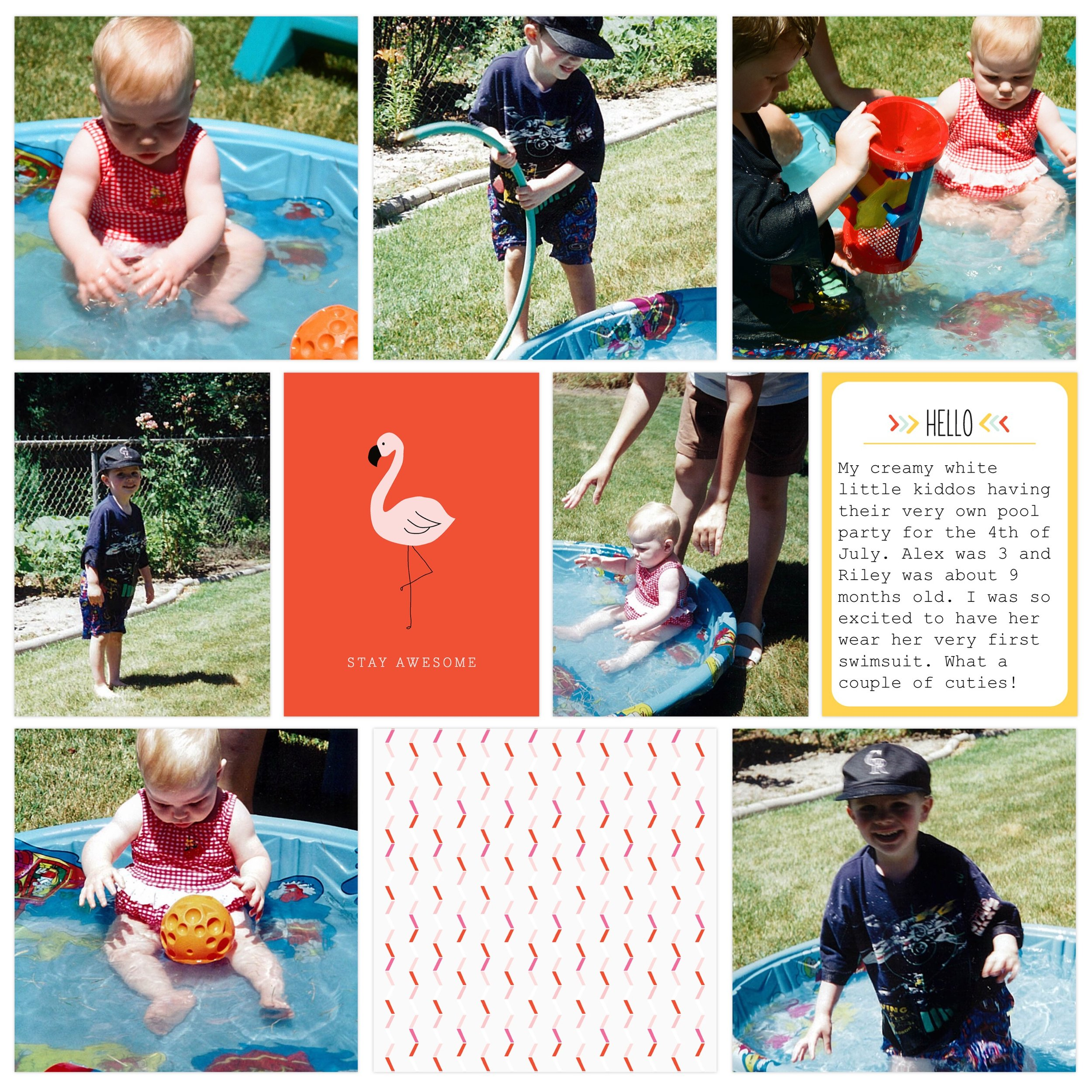 1997 swimming party in our backyard. Page created in Project Life App. Cards from Fine & Dandy edition (in app purchase).