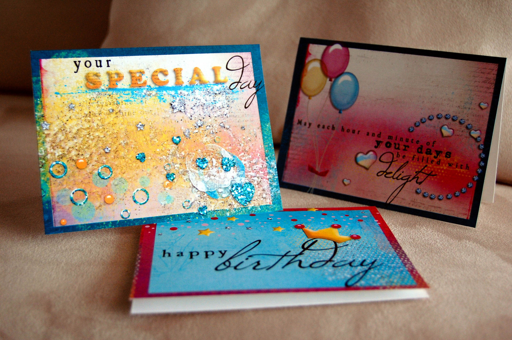 Cards created with digital supplies and printed at home in 2010. Kitty Designs.