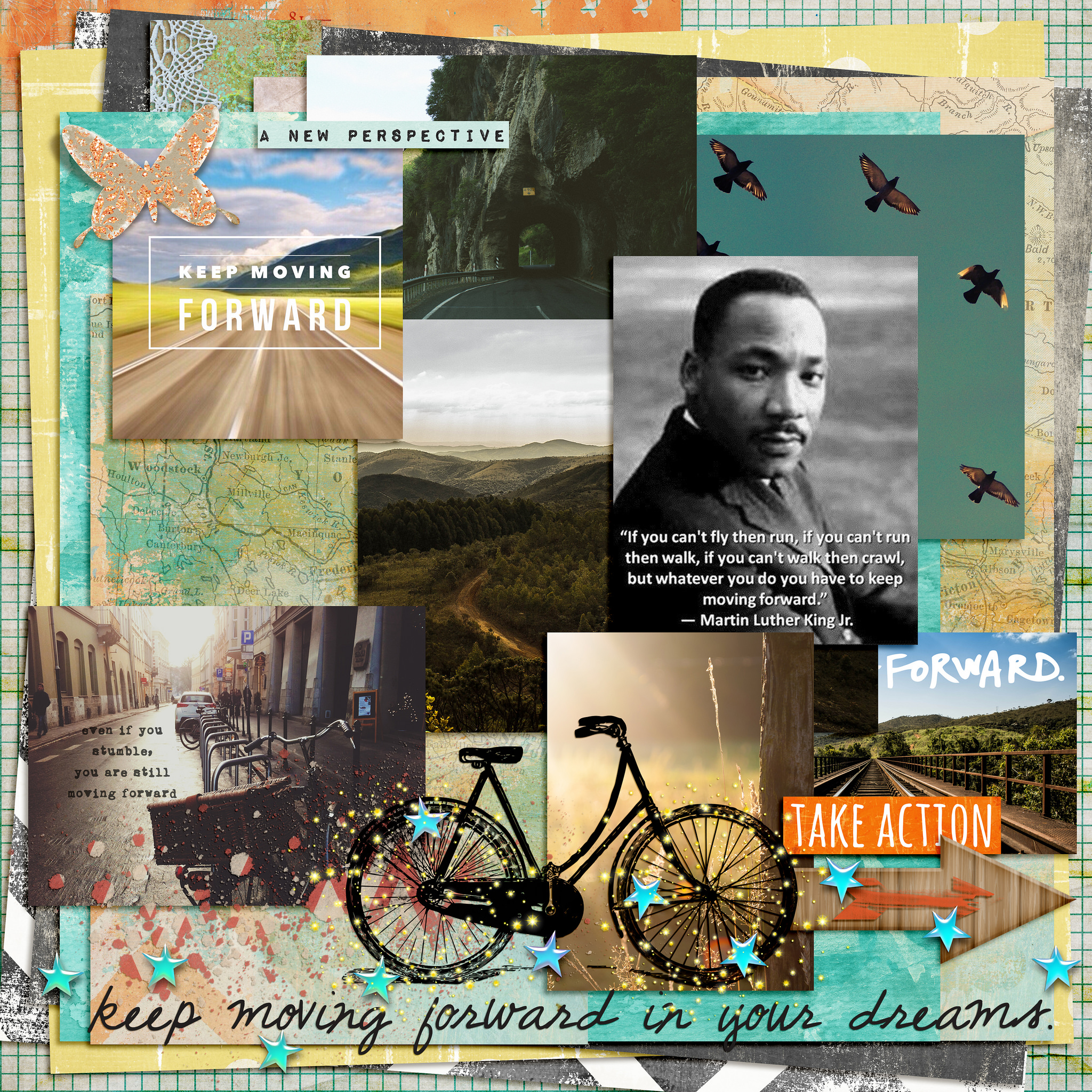 Photos from Unsplash.com, Word art from wordswag app, Moving forward from Ali Edwards, Tangie Baxter Dream Maker clusters, Creative Visions It's My Journey + It Takes Courage + Captivating November, Studio Rosey Posey One Moment + Just Because