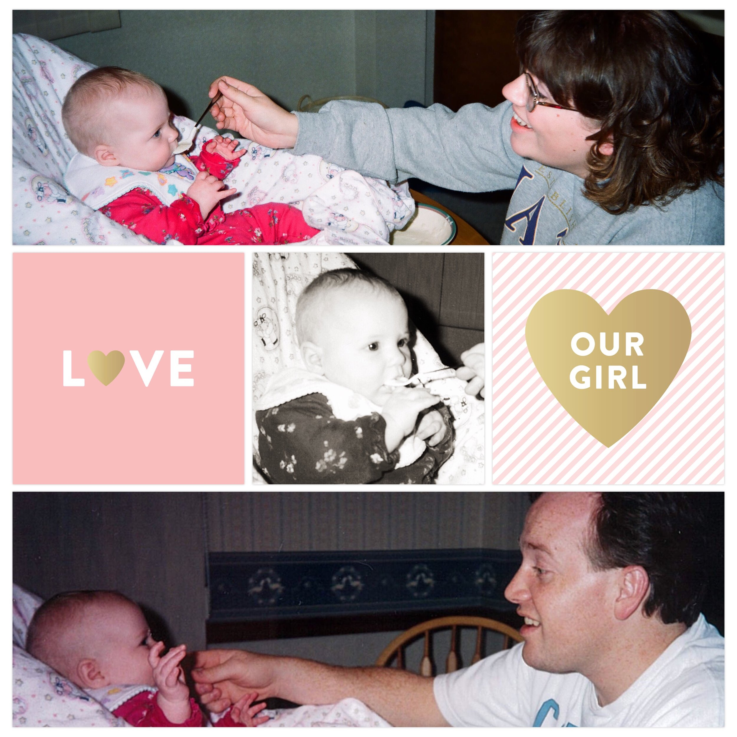 Project Life App Big Shot 6 template. Baby Girl edition cards.