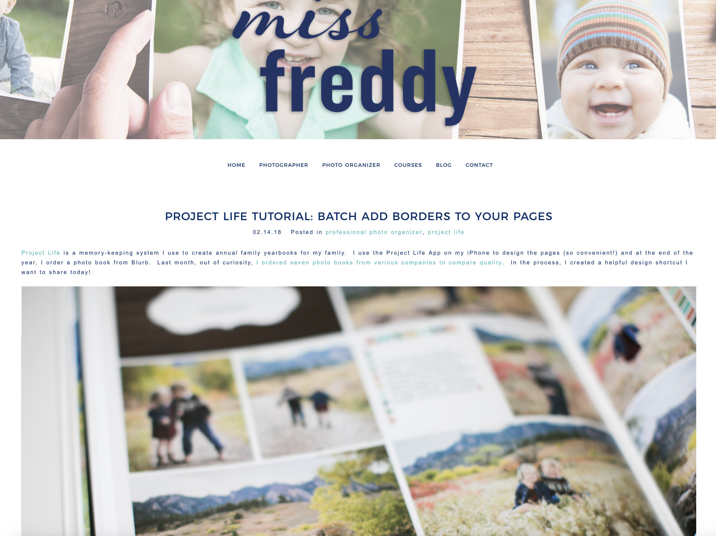 Adding borders to your pages for photobooks with a few