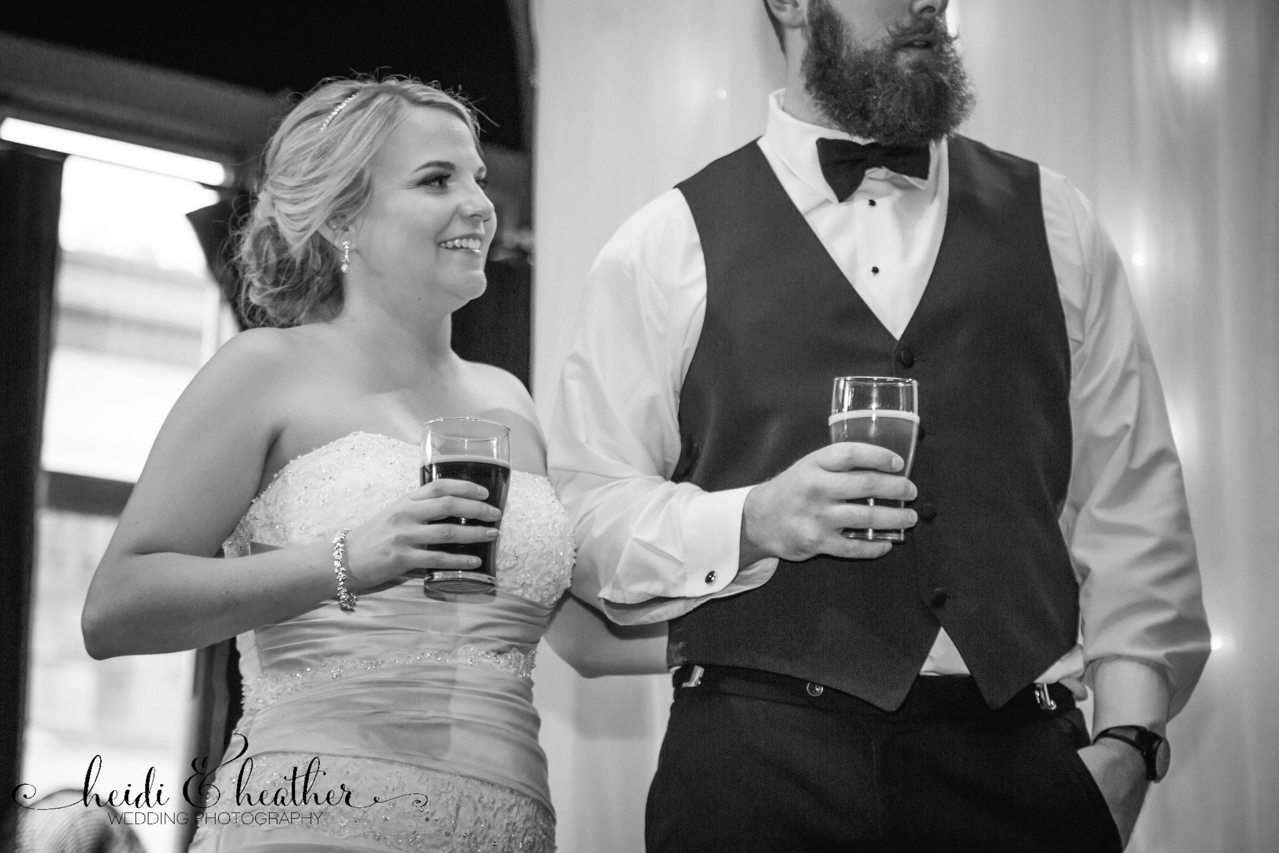 Toasting to the bride and groom at McMenamins Crystal Ballroom.