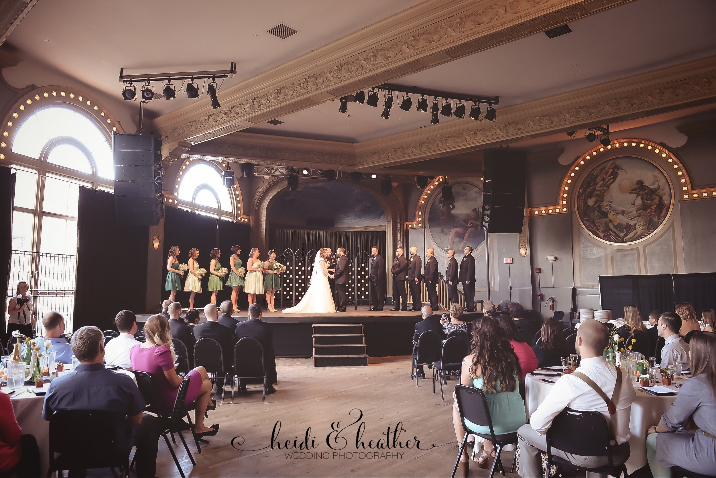 """McMenamins Crystal Ballroom  in Portland sets a dramatic scene for an elegant wedding. And how amazing would it be to say your """"I Do's"""" like a rock star on stage?"""
