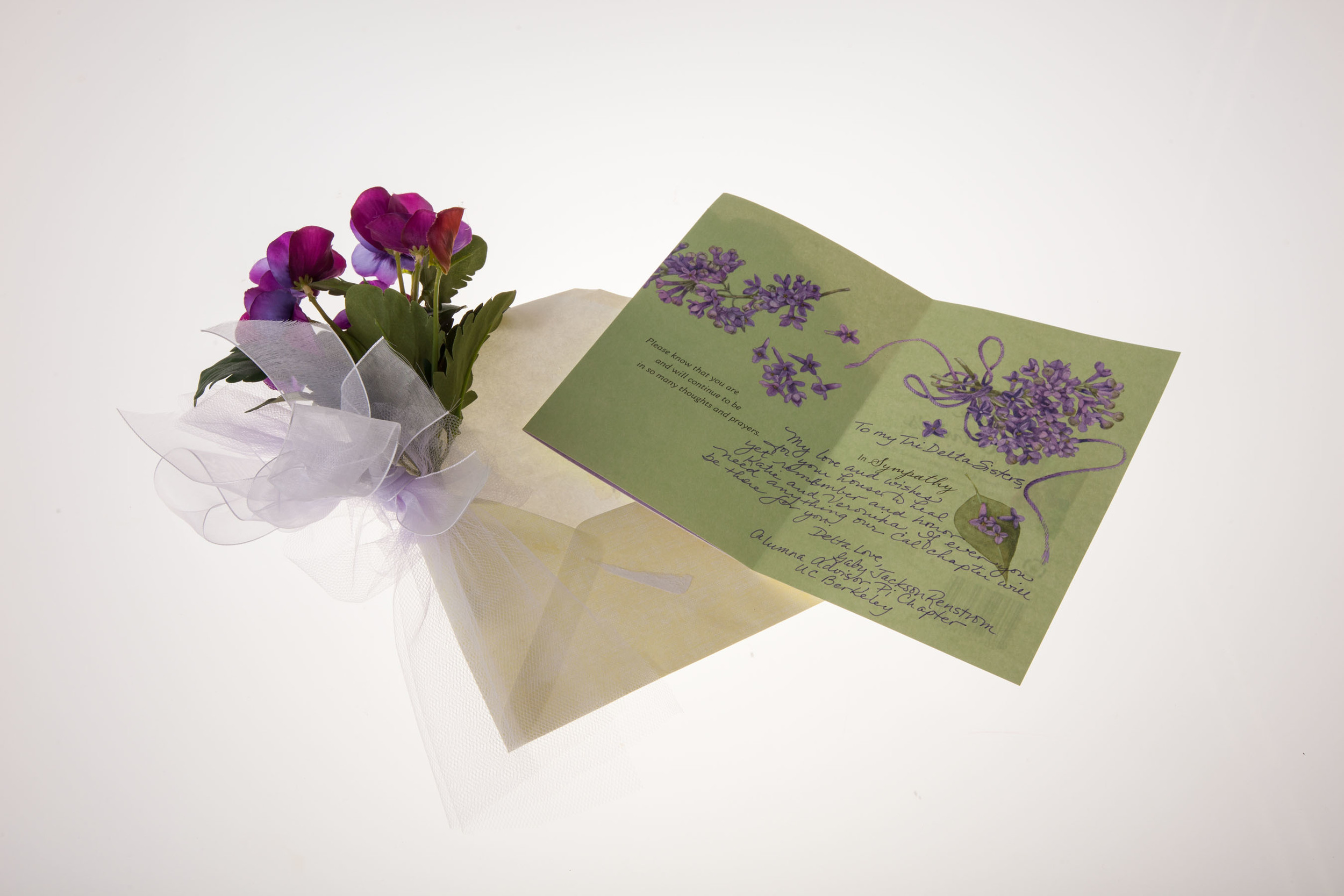 Card and flowers received by Tri Delta Sorority (on loan). Photographed by Claire Bredenoord.