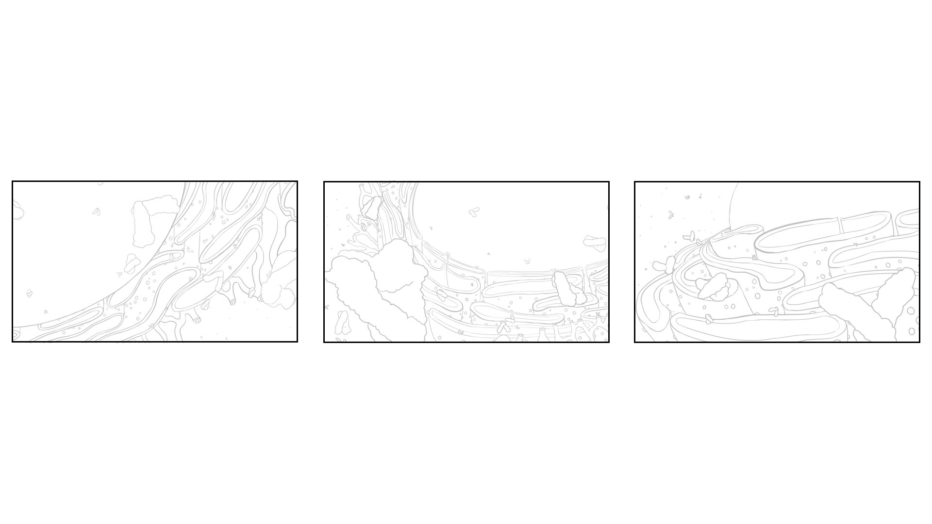 layout thumbnails draftedduring brainstorming stages of this project