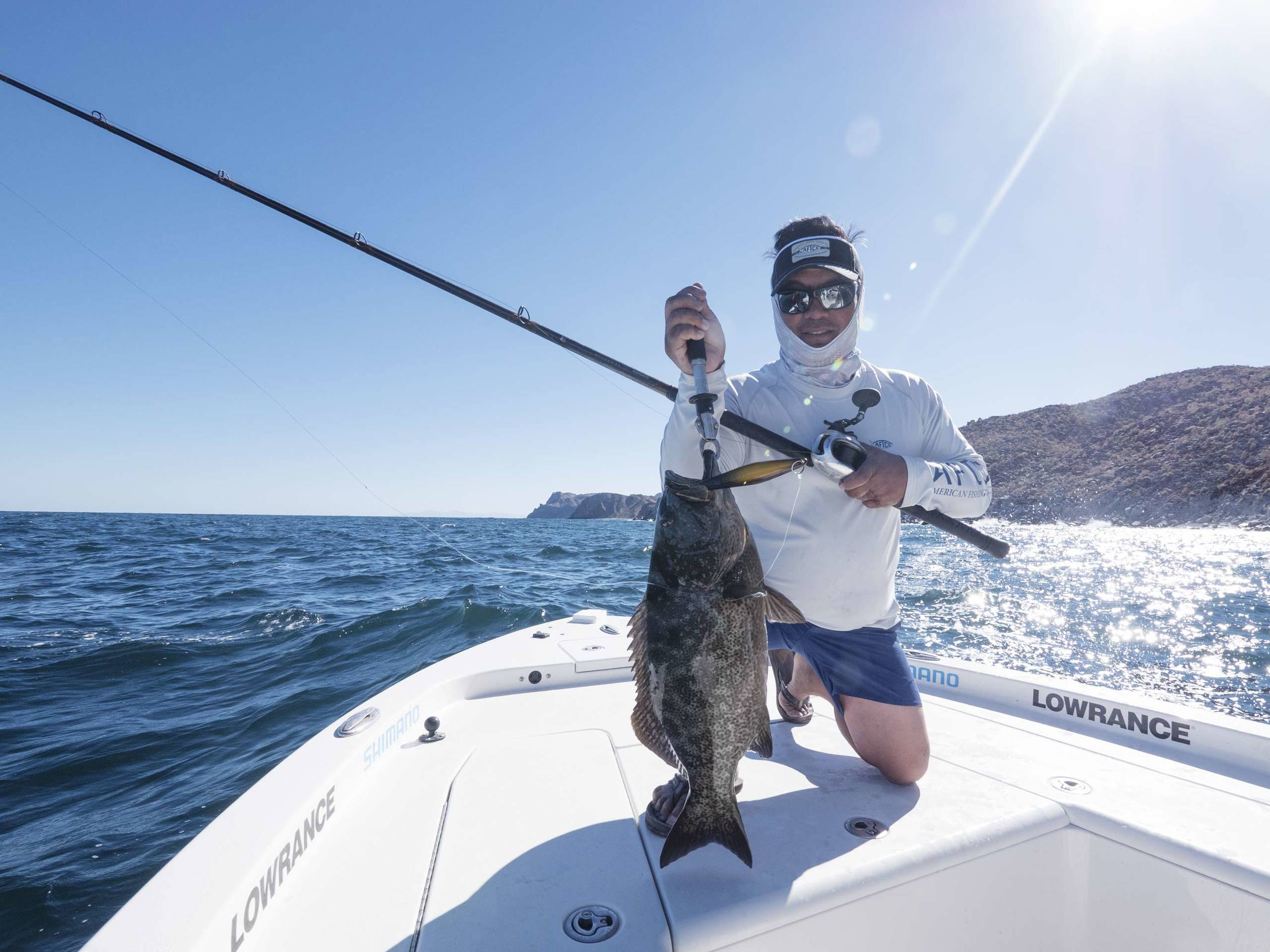 Capt. Ben Florentino shows that much like Calico Bass, the Leopard Grouper maul the Señorita colored jig.