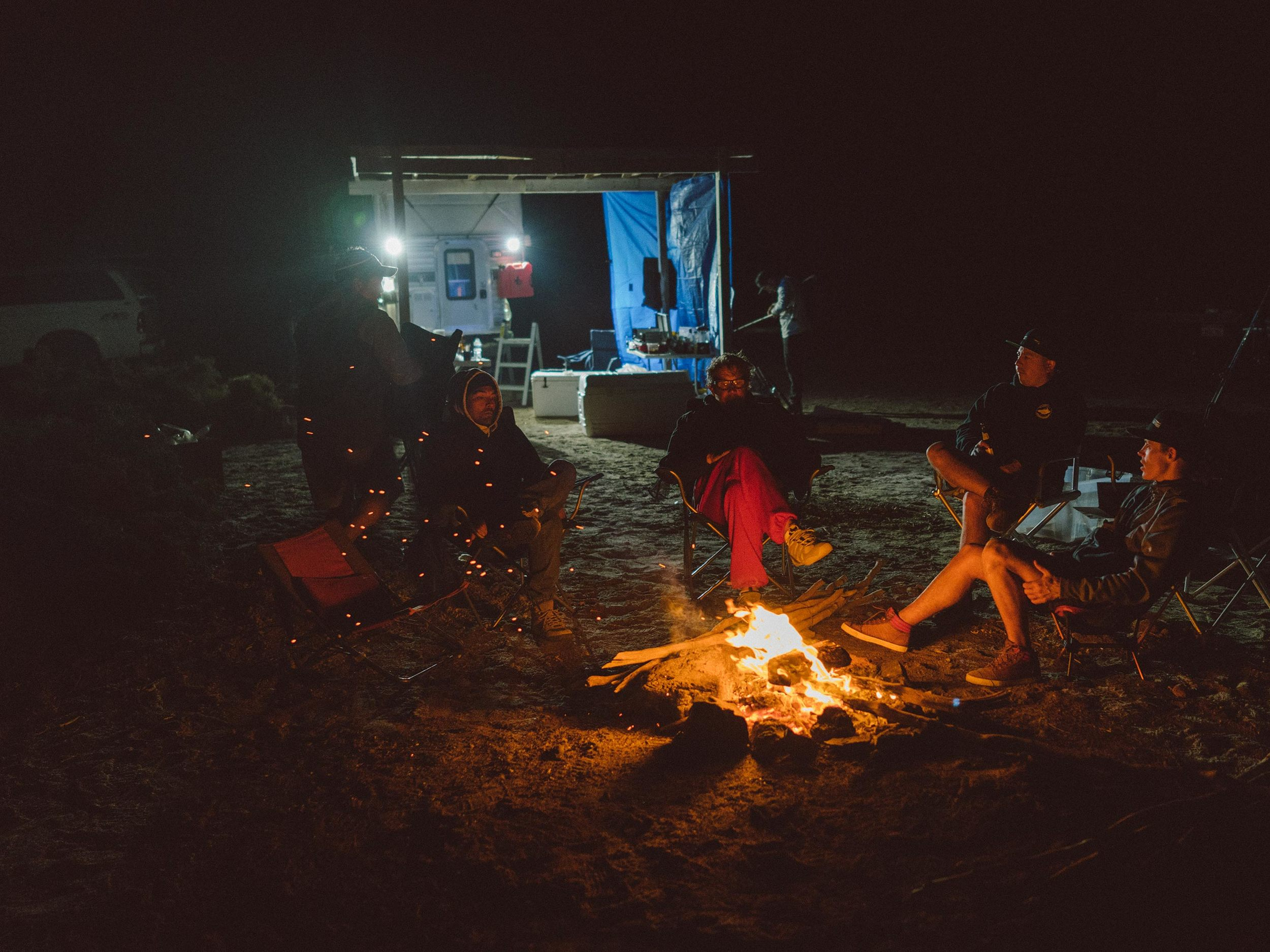 Campfire with the compadres. Planning tommorow's attack.