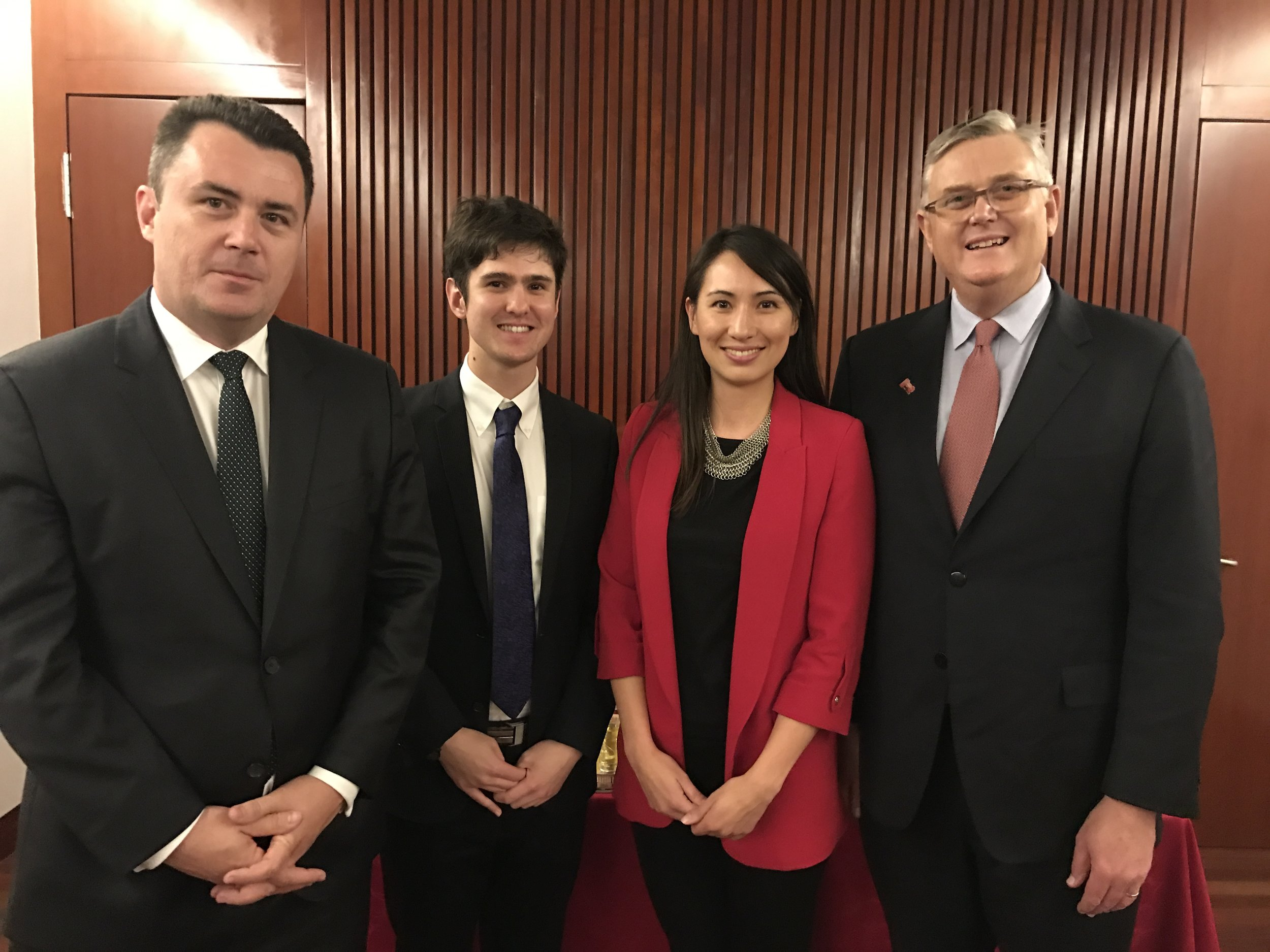 From left to right: Dan Ryan (Australia-China Council Board Member), Liam Kearney (ACYD 2017 Alumnus), Cindy Gottinger (ACYD Board Member and 2013 Alumna) and Harold Weldon (Australia-China Council Board Member).