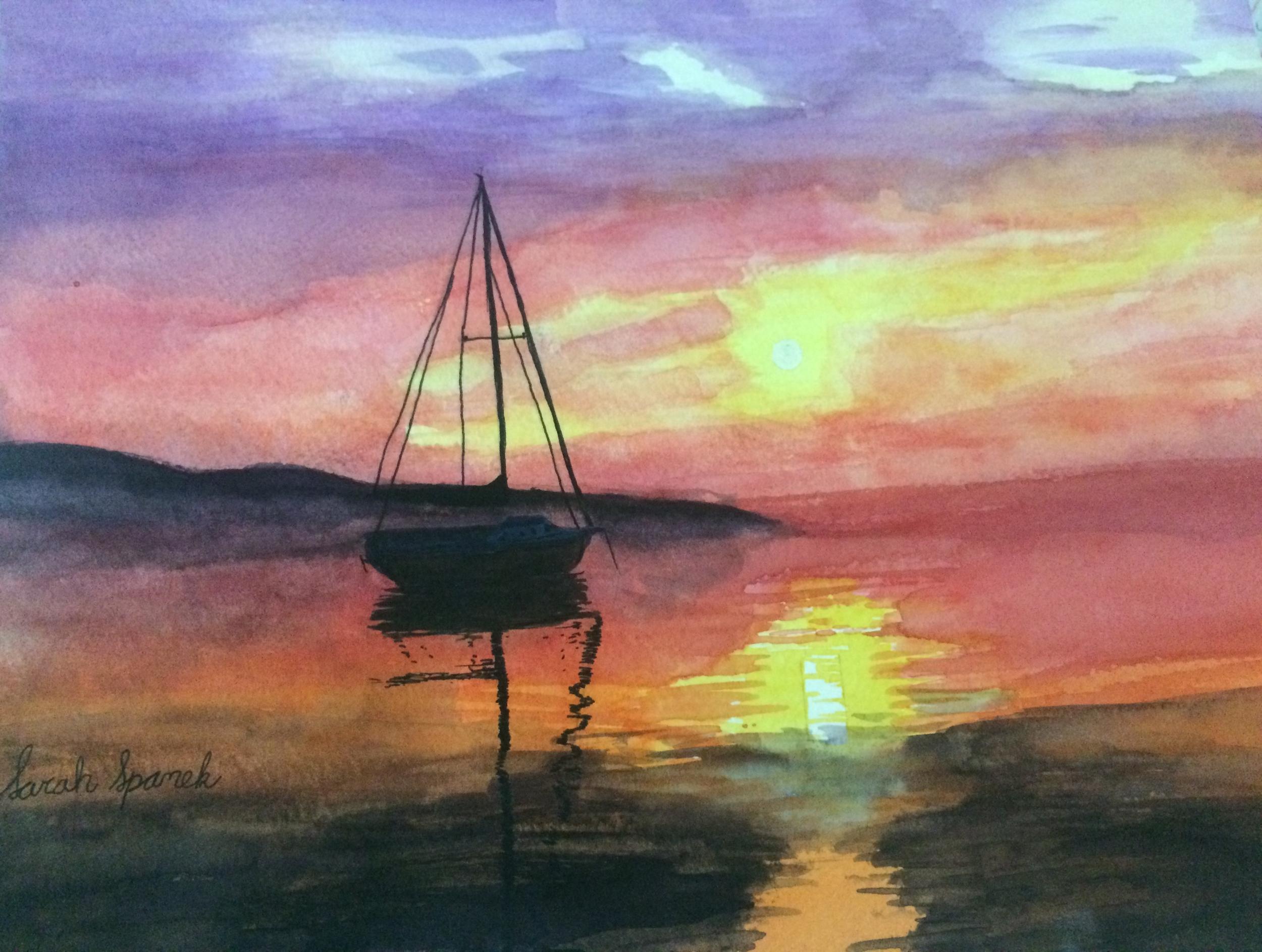 Sarah Spanek'Sailboat at Sunset'watercolor.13yrs