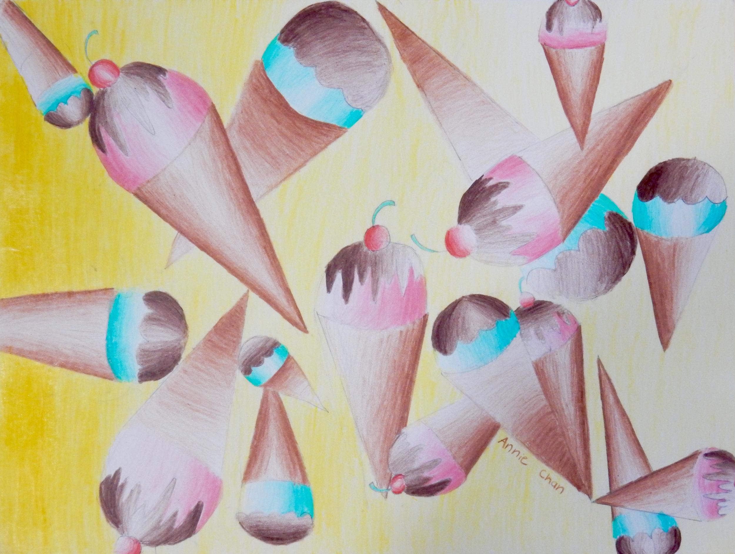 Annie Chan.10yrs.IceCreamCones.coloredpencils