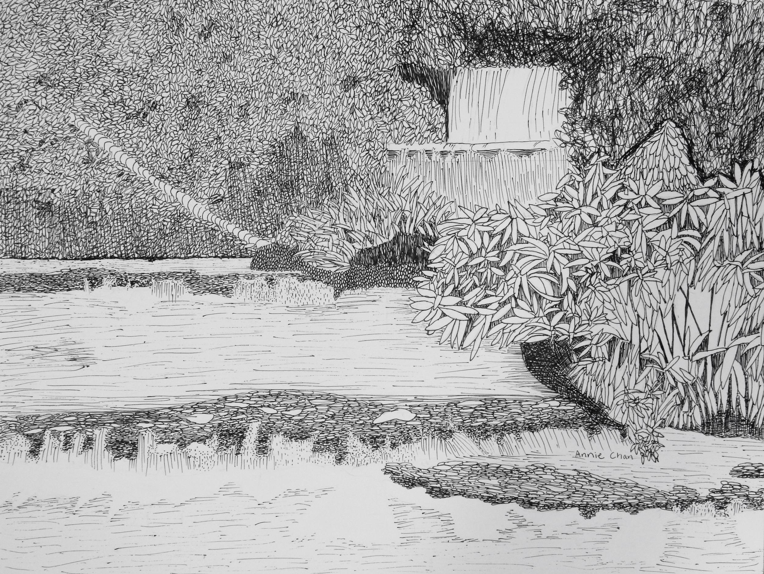 AnnieChan.10yrs.Waterfall.pen&ink