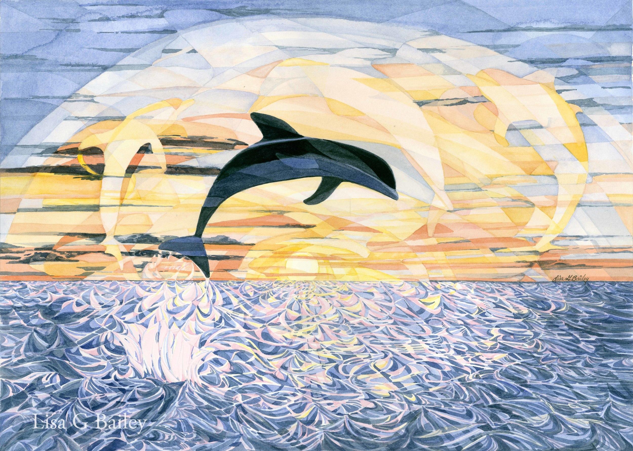 Dancing Dolphins - colorweave watercolor